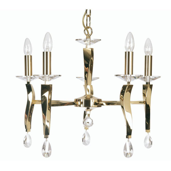 Traditional Ceiling Pendant Lights - Aire Cast Brass 5 Light Chandelier With Gold Plate 719/5 GO