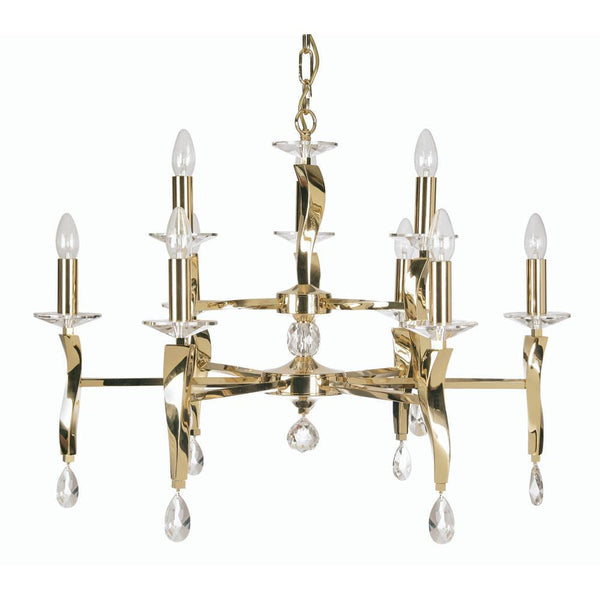 Traditional Ceiling Pendant Lights - Aire Cast Brass 9 Light Chandelier With Gold Plate 719/9 GO