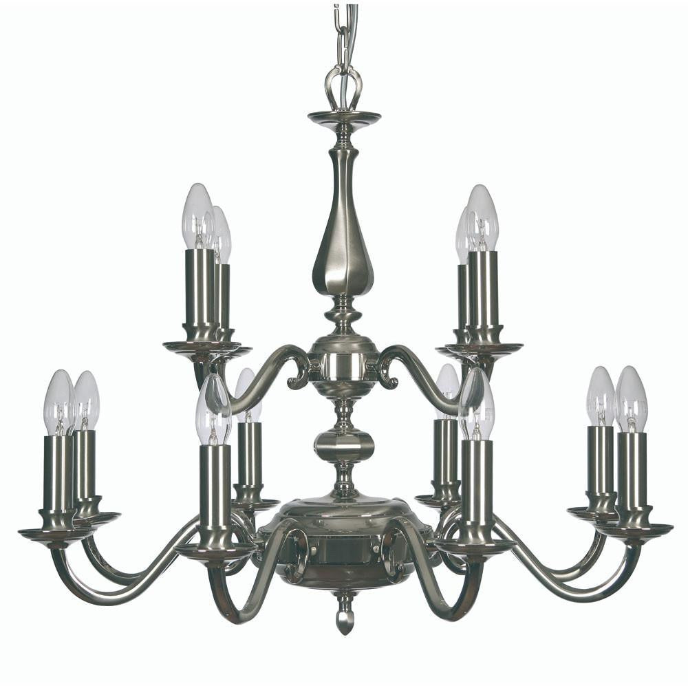 Traditional Ceiling Pendant Lights - Aylesbury Cast Brass 12 Light Chandelier With Two-Tone Satin & Polished Nickel Plate  726/5 GO