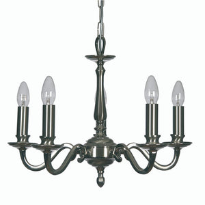 Traditional Ceiling Pendant Lights - Aylesbury Cast Brass 5 Light Chandelier With Two-Tone Satin & Polished Nickel Plate 700/5 SN