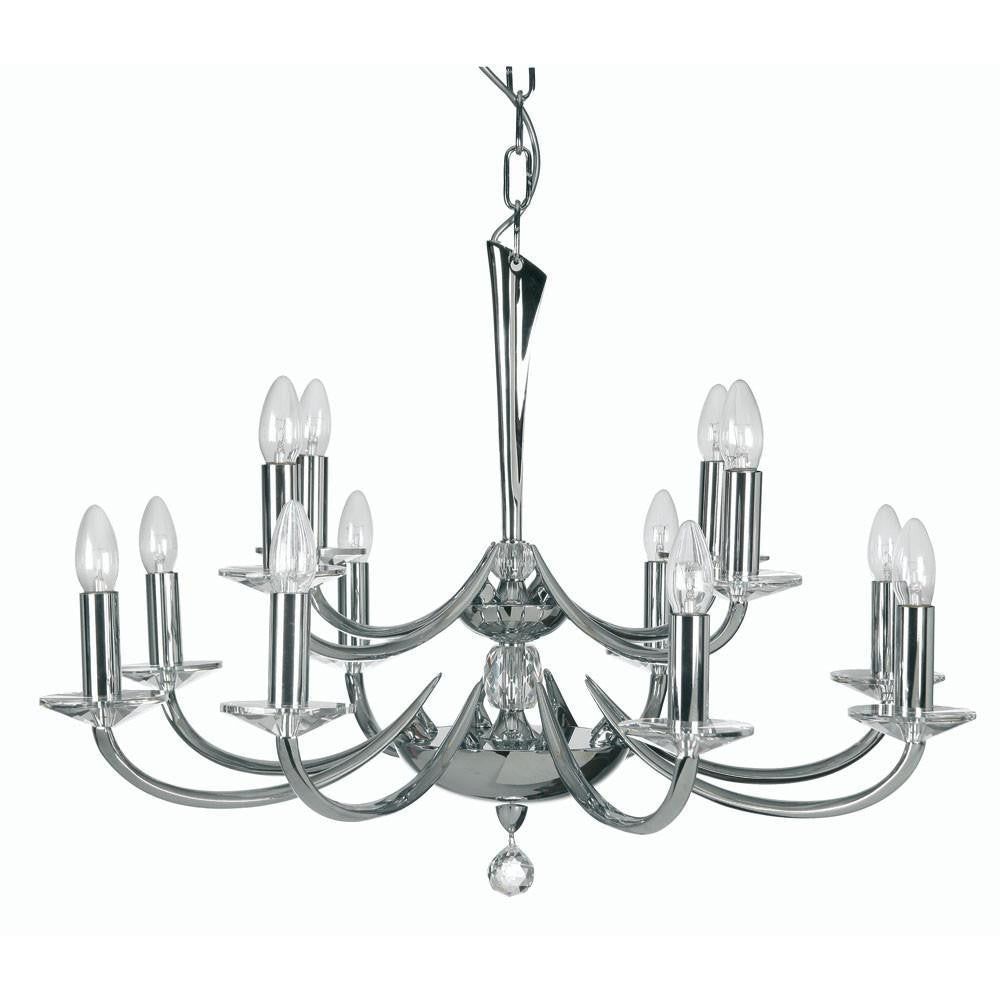 Traditional Ceiling Pendant Lights - Bahia Cast Brass 12 Light Chandelier With Chrome Plate 715/8+4 CH