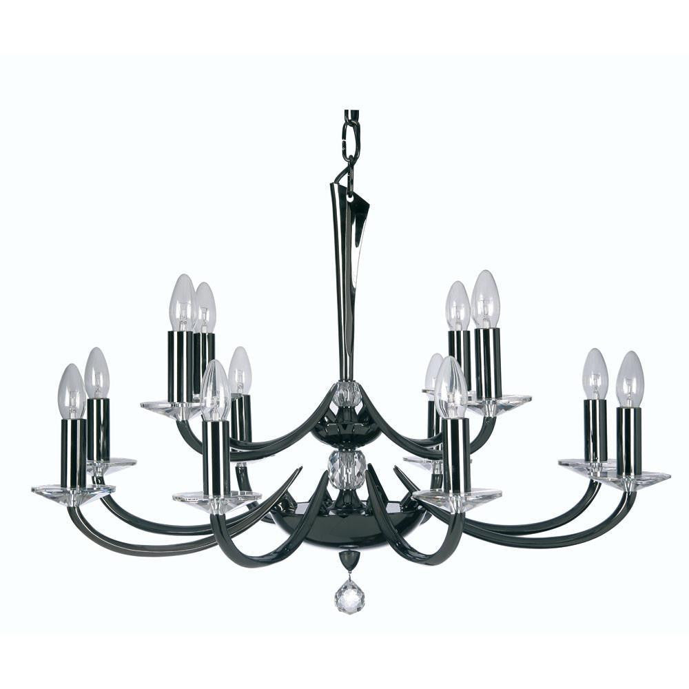 Traditional Ceiling Pendant Lights - Bahia Cast Brass 12 Light Chandelier With Titanium Plate 715/8+4 TI