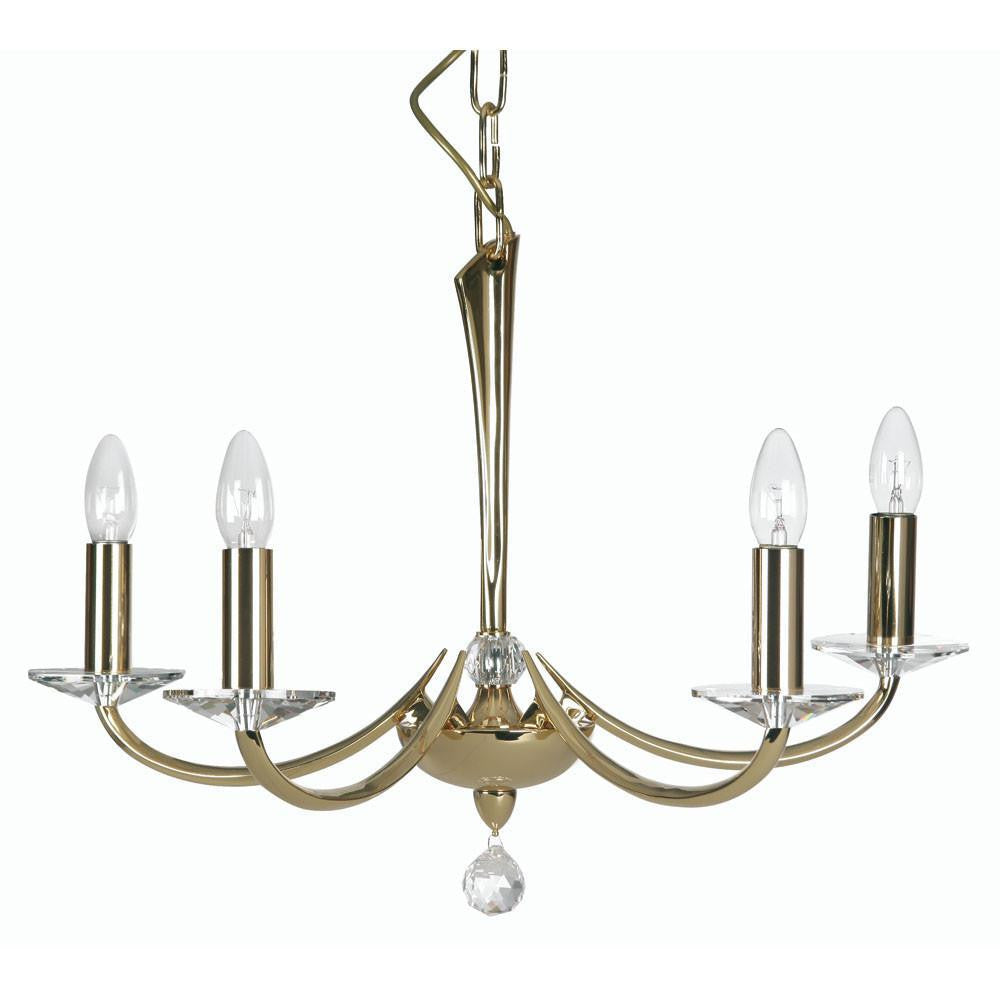 Traditional Ceiling Pendant Lights - Bahia Cast Brass 5 Light Chandelier With Gold Plate 715/5 GO