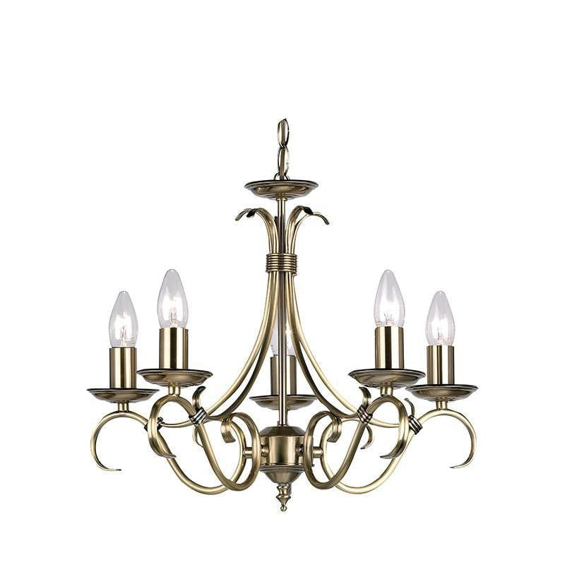 Traditional Ceiling Pendant Lights - Bernice Antique Brass Finish 5 Light Chandelier 2030-5AN