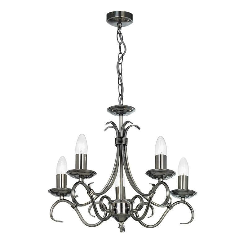 Traditional Ceiling Pendant Lights - Bernice Antique Silver Finish 5 Light Chandelier 2030-5AS