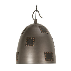 Traditional Ceiling Pendant Lights - Callisto 1 Light Metal & Leather Ceilling Pendant Light 8023 LG