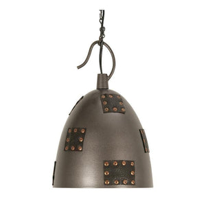 Traditional Ceiling Pendant Lights - Callisto 1 Light Metal & Leather Ceilling Pendant Light 8023 SM
