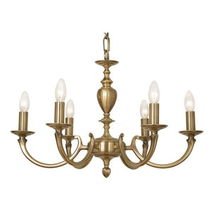 Traditional Ceiling Pendant Lights - Carter Cast Brass 6 Light Chandelier 735/6 AB