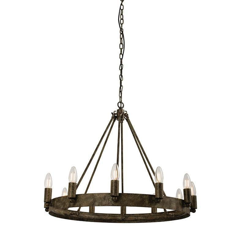 Traditional Ceiling Pendant Lights - Chevalier 12LT Aged Metal Pendant Ceiling Light 61026
