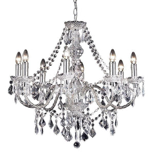 Traditional Ceiling Pendant Lights - Clearence Clear Acrylic & Chrome Plate 8LT Pendant Ceiling Light 308-8CL