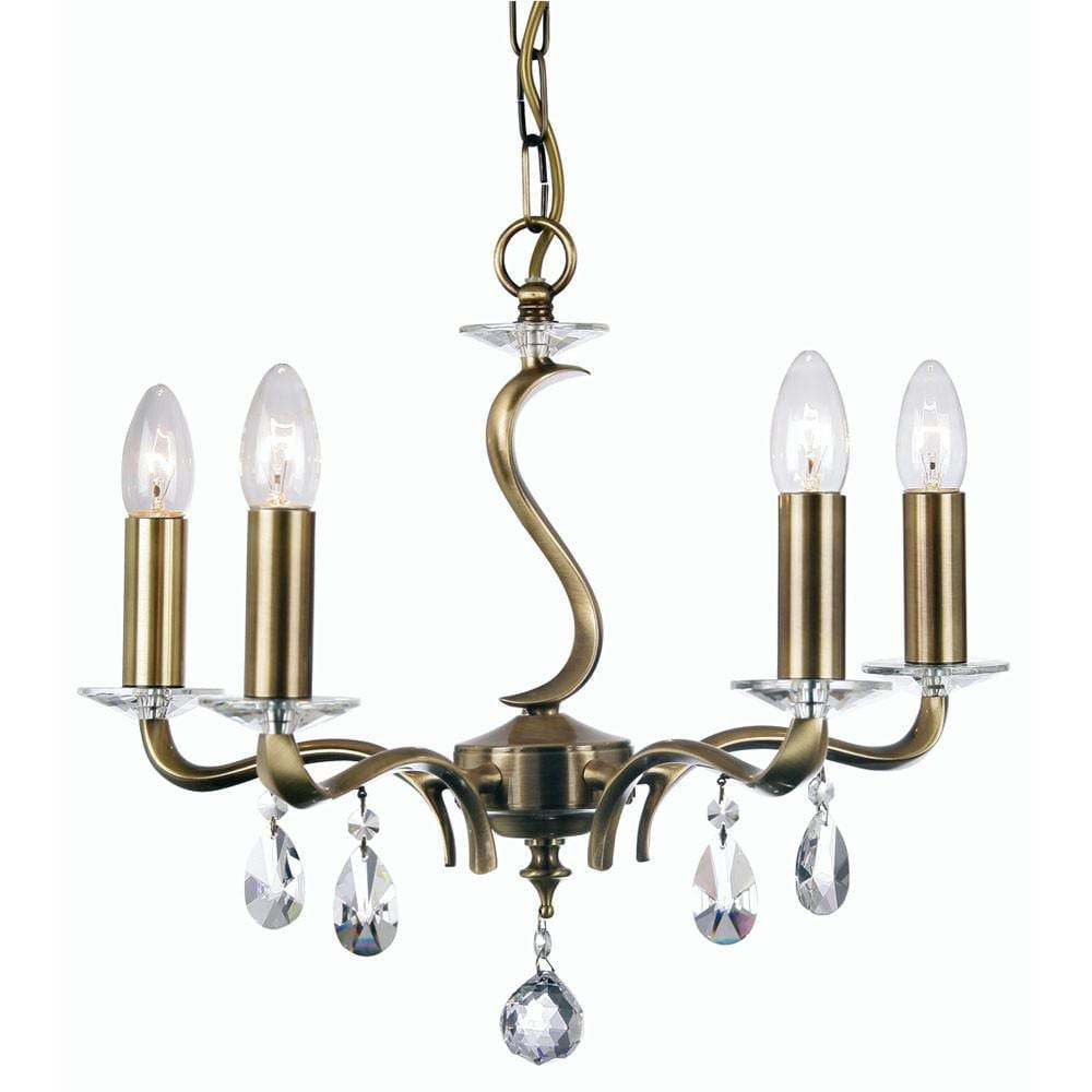 Traditional Ceiling Pendant Lights - Cobra Cast Brass 5 Light Chandelier With Antique Brass Plate 227/5 AB