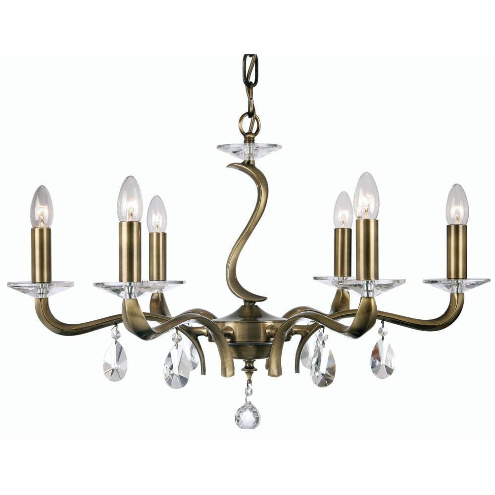 Traditional Ceiling Pendant Lights - Cobra Cast Brass 6 Light Chandelier With Antique Brass Plate 227/6 AB