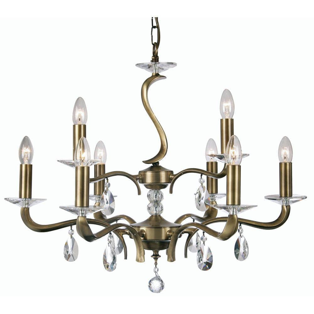 Traditional Ceiling Pendant Lights - Cobra Cast Brass 9 Light Chandelier With Antique Brass Plate 227/6+3 AB