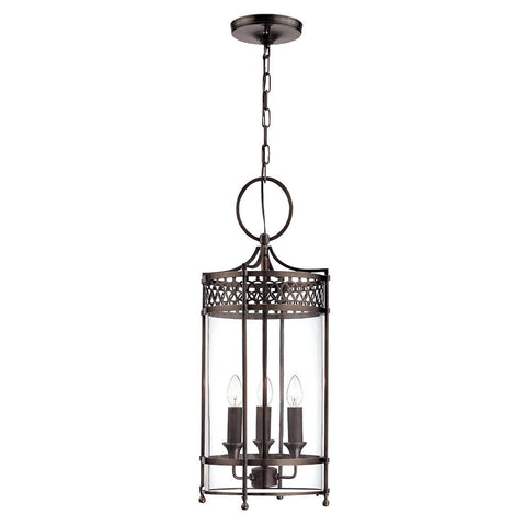 Traditional Ceiling Pendant Lights - Elstead Guildhall 3lt Chain Lantern Ceiling Light GH/P DB