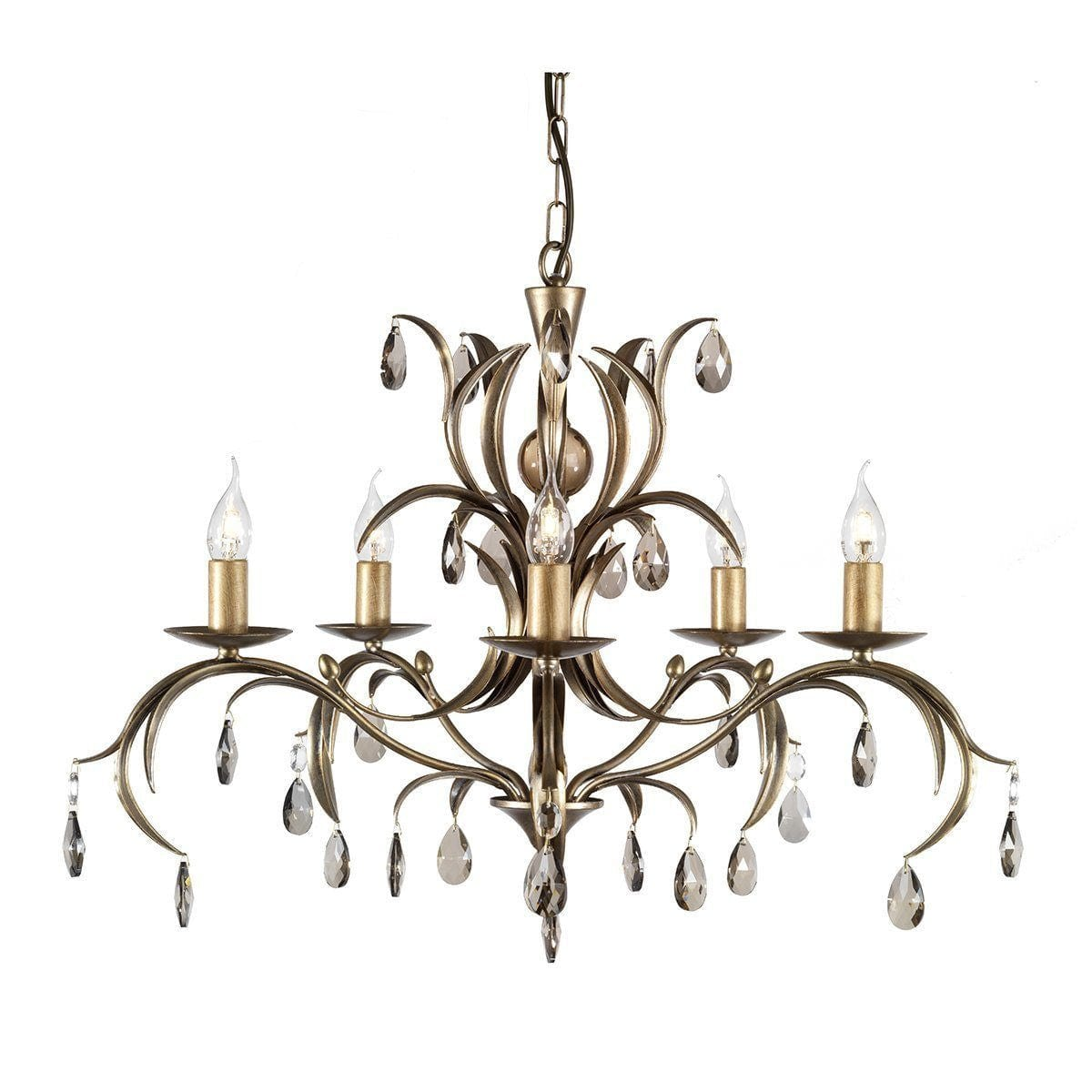Traditional Ceiling Pendant Lights - Elstead Lily 5lt Chandelier Ceiling Light LL5 ANT BRZ