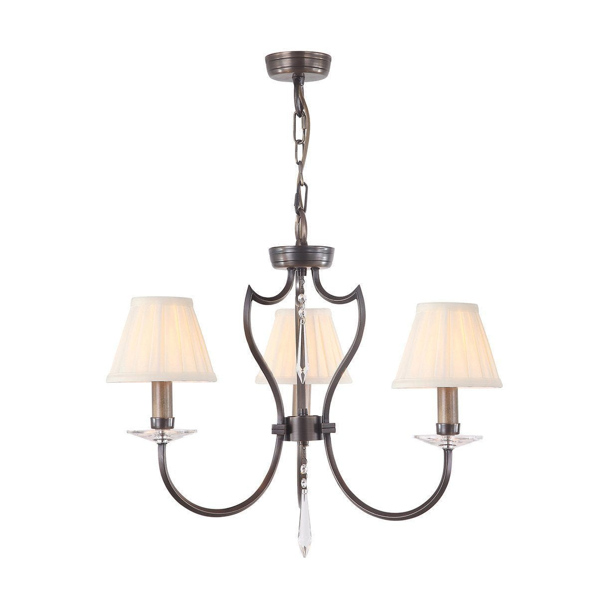 Traditional Ceiling Pendant Lights - Elstead Pimlico Dark Bronze 3lt Chandelier Ceiling Light PM3 DB