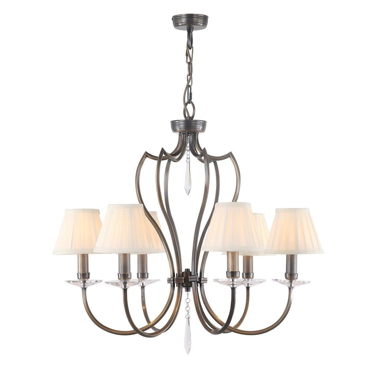 Traditional Ceiling Pendant Lights - Elstead Pimlico Dark Bronze 6lt Chandelier Ceiling Light PM6 DB