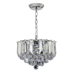 Traditional Ceiling Pendant Lights - Fargo Chrome Plate & Clear Acrylic 3LT Small Pendant Ceiling Light FARGO-12CH