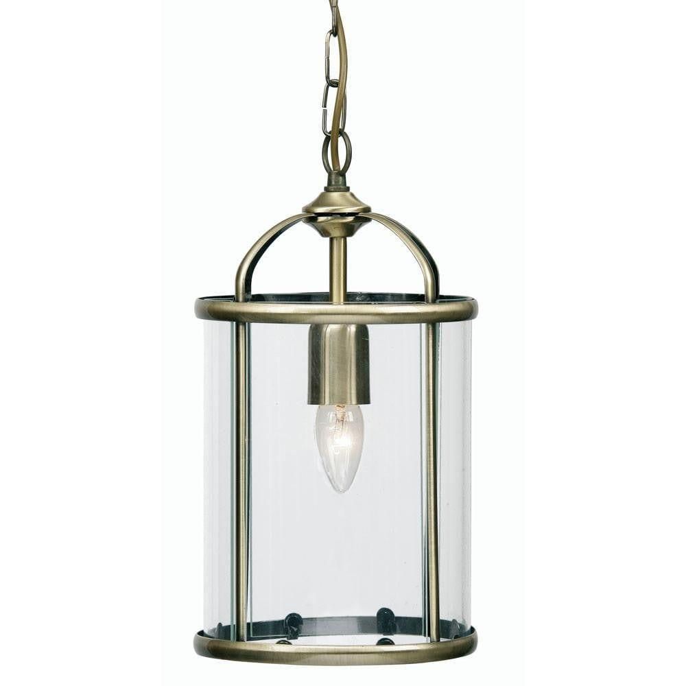Traditional Ceiling Pendant Lights - Fern brass Finish 1 Light Lantern 351/1 AB