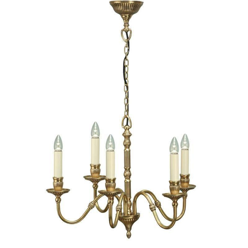 Traditional Ceiling Pendant Lights - Fitzroy 5 Light Solid Brass Chandelier ABY133P5