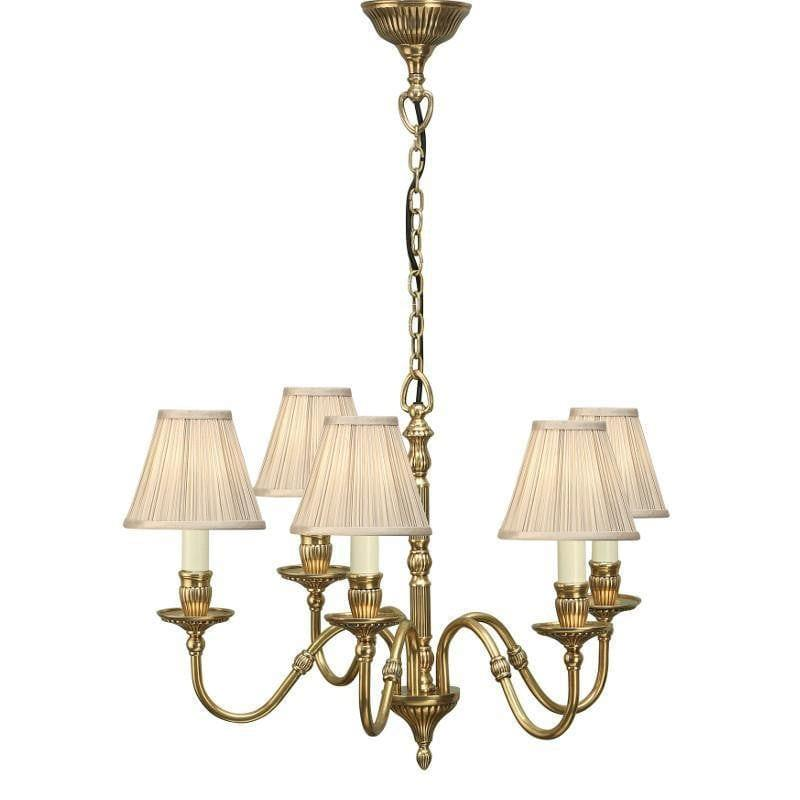 Traditional Ceiling Pendant Lights - Fitzroy 5 Light Solid Brass Chandelier With Beige Shades 63815