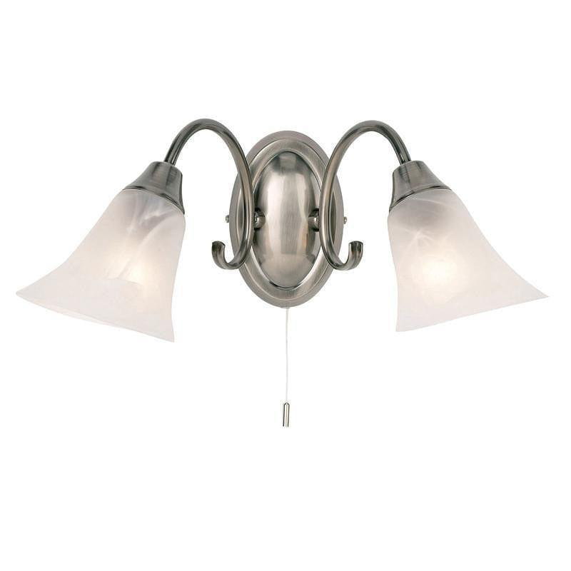 Traditional Ceiling Pendant Lights - Hardwick Antique Silver Finish Twin Arm Wall Light 144-2AS
