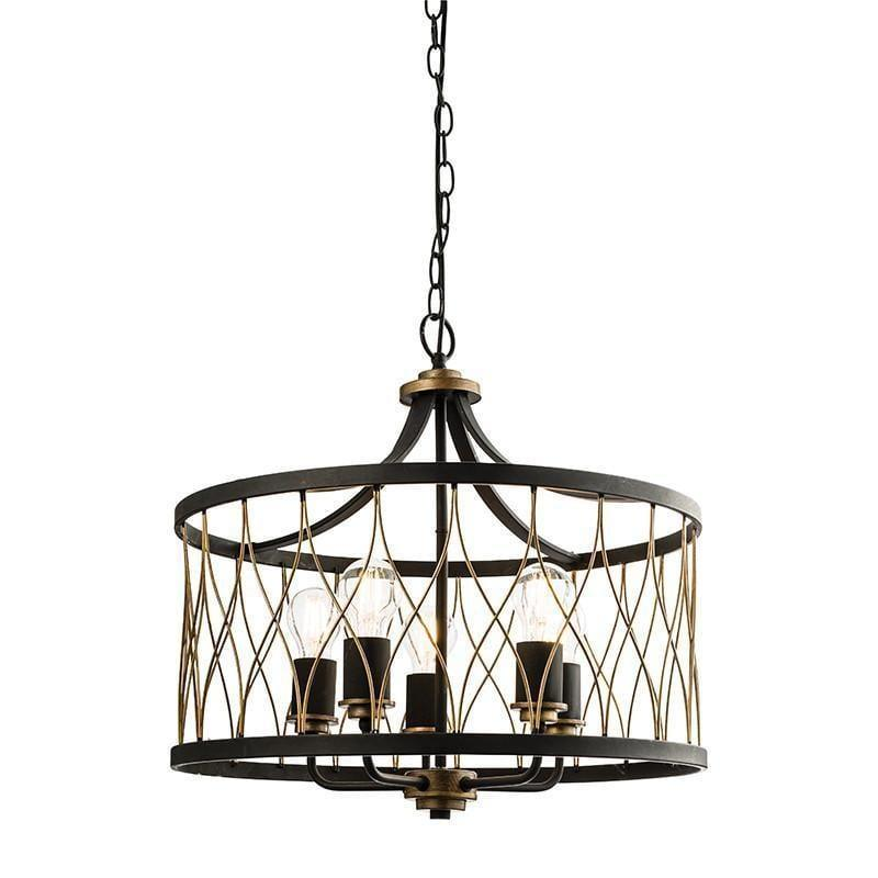 Traditional Ceiling Pendant Lights - Heston Matt Black And Rustic Bronze Painted 5 Light Pendant Ceiling Light 61498