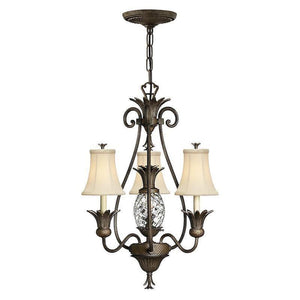 Traditional Ceiling Pendant Lights - Hinkley Plantation Pearl Bronze 3lt + 1lt Chandelier Ceiling Light HK/PLANT3 PZ