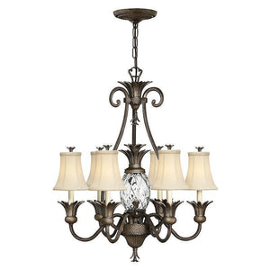 Traditional Ceiling Pendant Lights - Hinkley Plantation Pearl Bronze 6lt + 1lt Chandelier Ceiling Light HK/PLANT7 PZ