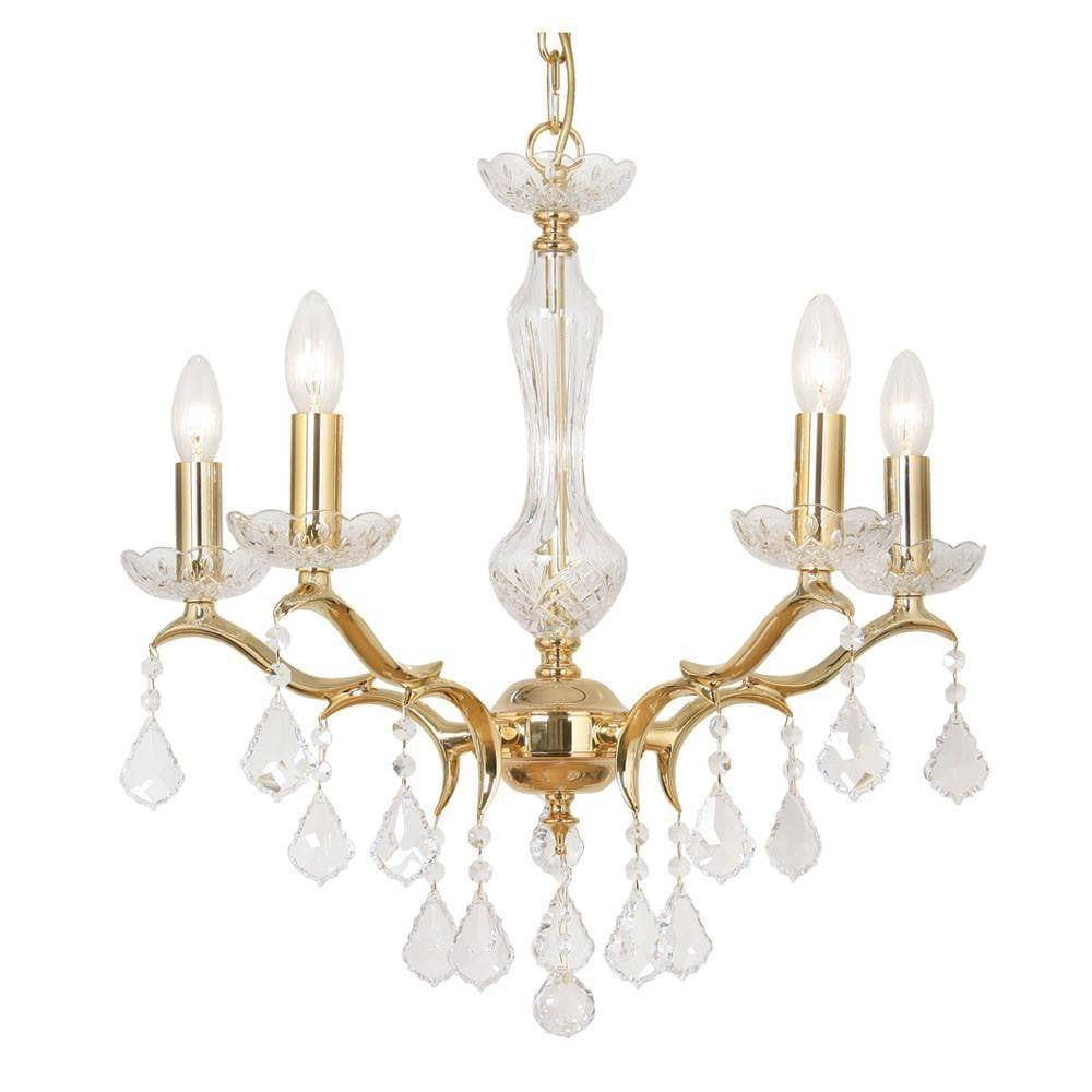 Traditional Ceiling Pendant Lights - Isabella Cast Brass 5 Light Chandelier With Gold Plate 173/5 GO