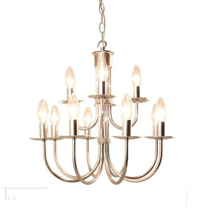 Traditional Ceiling Pendant Lights - Kansa Malmo Stainless Steel 12 Light Chandelier MALMO32