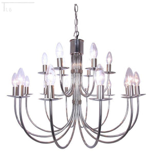 Traditional Ceiling Pendant Lights - Kansa Malmo Stainless Steel 18 Light Chandelier MALMO84