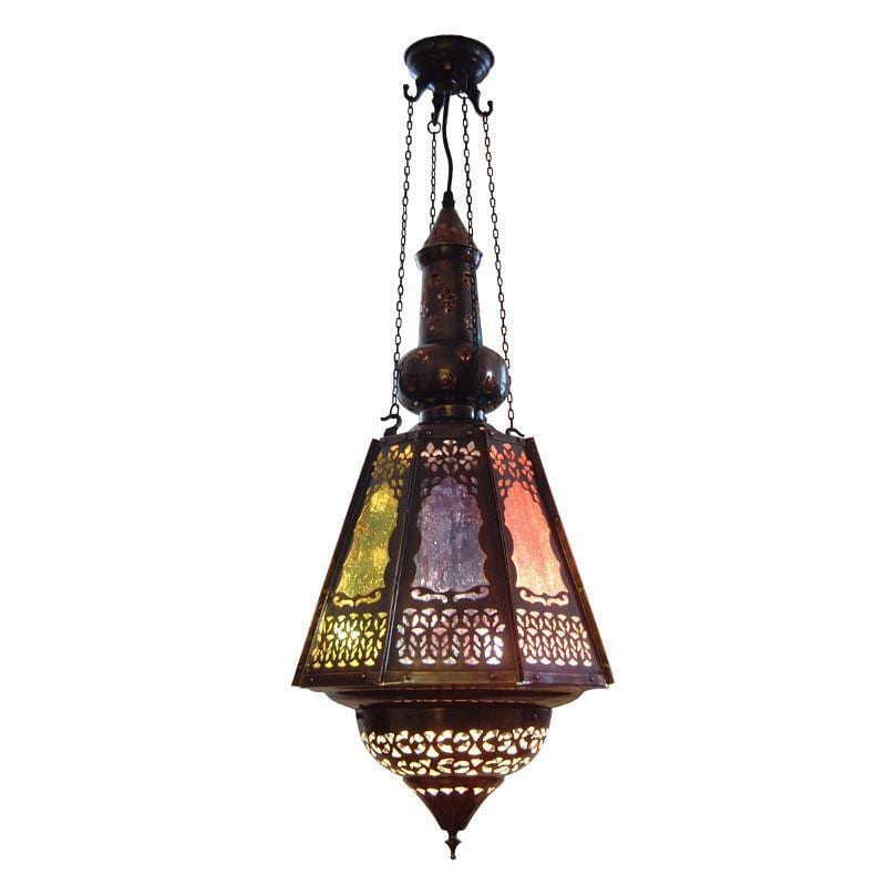 Traditional Ceiling Pendant Lights - Kansa Samakand Antique Bronze Lantern SAMARKAND2