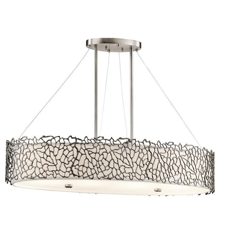Traditional Ceiling Pendant Lights - Kichler Silver Coral Oval Island Ceiling Light KL/SILCORAL/ISLE