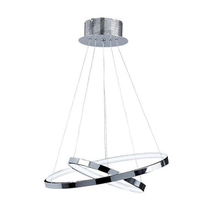 Traditional Ceiling Pendant Lights - Kline 2 Ring Chrome Plate & Frosted Acrylic Pendant Ceiling Light KLINE-2CH