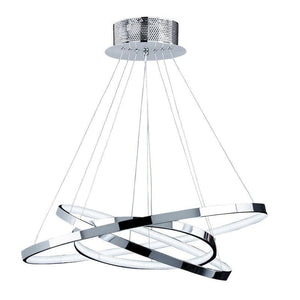 Traditional Ceiling Pendant Lights - Kline 3 Ring Chrome Plate & Frosted Acrylic Pendant Ceiling Light KLINE-3CH