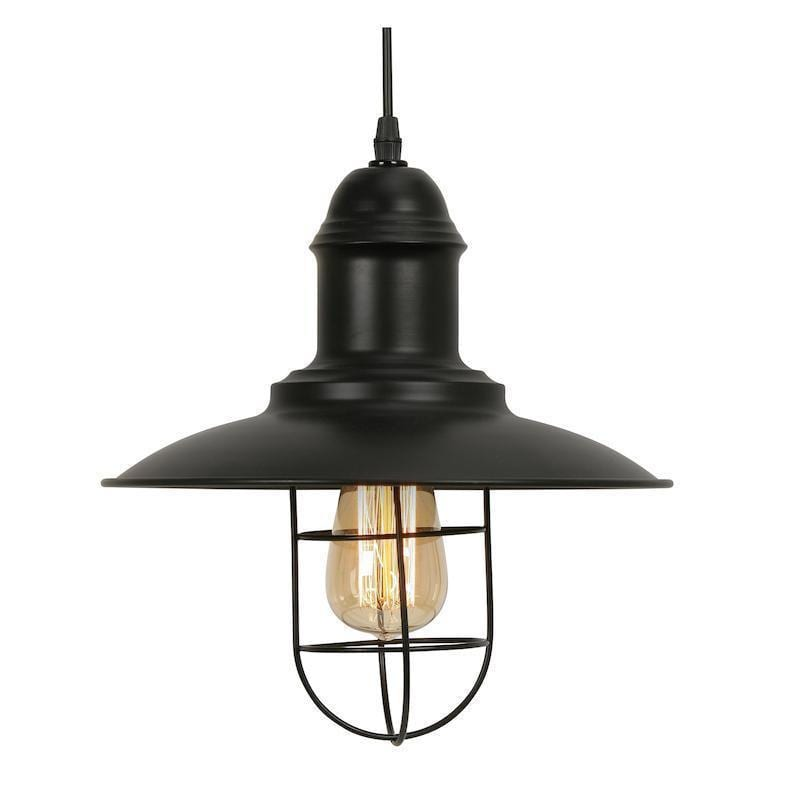 Traditional Ceiling Pendant Lights - Kolding 1 Light Black Ceiling Pendant Light 4130 Bk