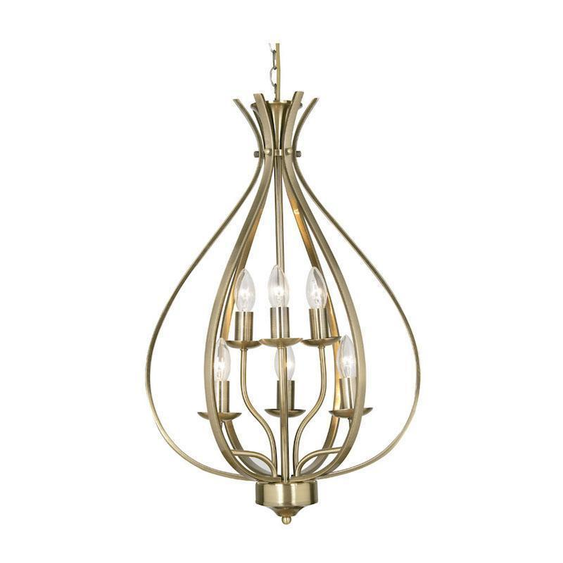 Traditional Ceiling Pendant Lights - Leon 6 Light Antique Brass Pendant Ceiling Light 1309/6 AB