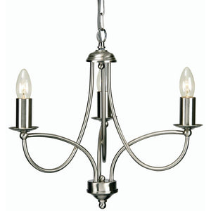 Traditional Ceiling Pendant Lights - Loop Antique Chrome Finish 3 Light Chandelier 2711/3 AC