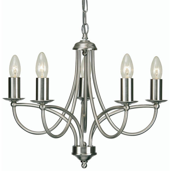 Traditional Ceiling Pendant Lights - Loop Antique Chrome Finish 5 Light Chandelier 2711/5 AC