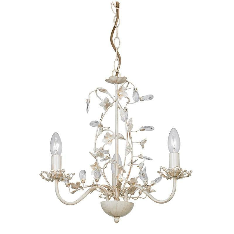 Traditional Ceiling Pendant Lights - Lullaby Cream And Gold Painted 3 Light Chandelier LULLABY-3CR