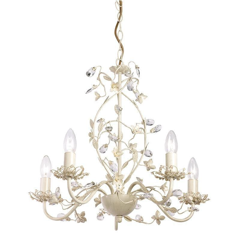 Traditional Ceiling Pendant Lights - Lullaby Cream And Gold Painted 5 Light Chandelier LULLABY-5CR