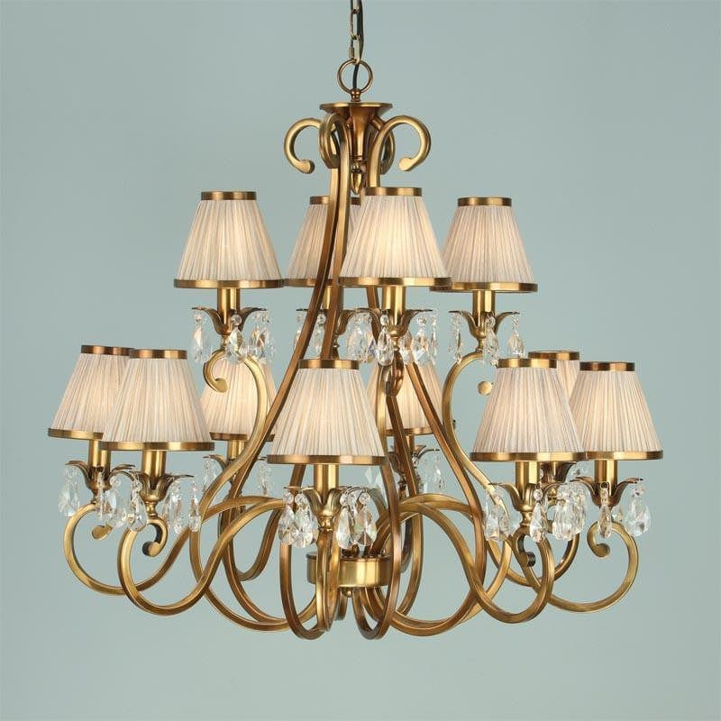 Traditional Ceiling Pendant Lights - Oksana Antique Brass Finish 12 Light Chandelier With Beige Shades 63521