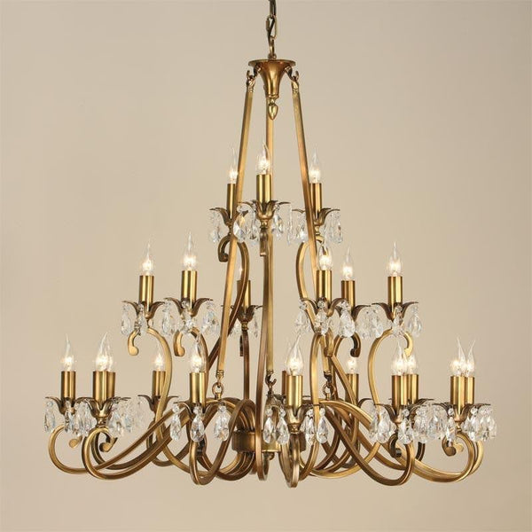 Traditional Ceiling Pendant Lights - Oksana Antique Brass Finish 21 Light Chandelier UL1P21B
