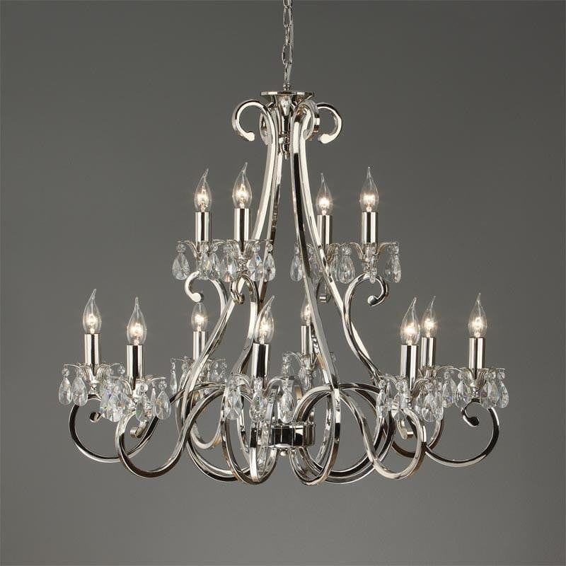 Traditional Ceiling Pendant Lights - Oksana Polished Nickel Finish 12 Light Chandelier UL1P12N