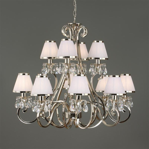 Traditional Ceiling Pendant Lights - Oksana Polished Nickel Finish 12 Light Chandelier With White Shades 63517