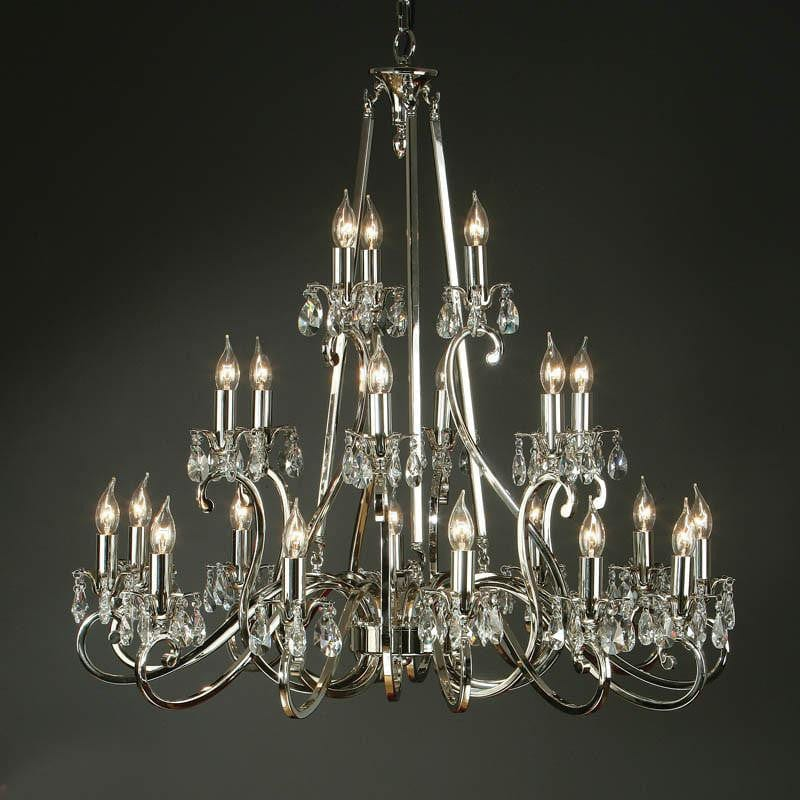 Traditional Ceiling Pendant Lights - Oksana Polished Nickel Finish 21 Light Chandelier UL1P21N