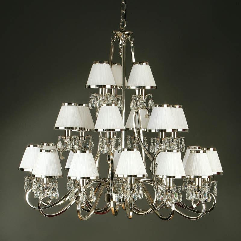 Traditional Ceiling Pendant Lights - Oksana Polished Nickel Finish 21 Light Chandelier With White Shades 63516