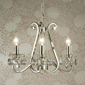 Traditional Ceiling Pendant Lights - Oksana Polished Nickel Finish 3 Light Chandelier UL1P3N