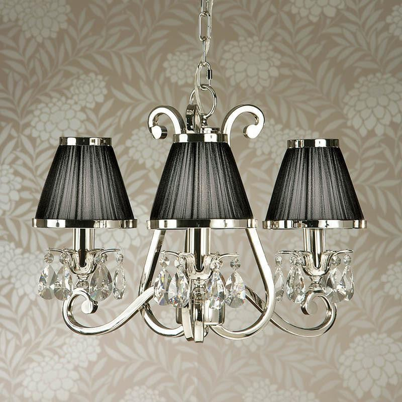 Traditional Ceiling Pendant Lights - Oksana Polished Nickel Finish 3 Light Chandelier With Black Shades 63505